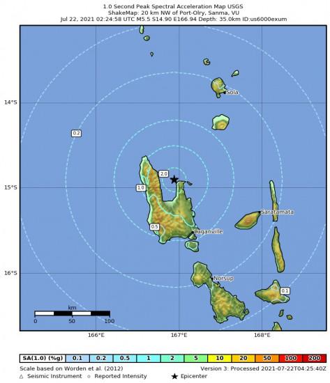 1 Second Peak Spectral Acceleration Map for the Port-olry, Vanuatu 5.5m Earthquake, Thursday Jul. 22 2021, 1:24:58 PM