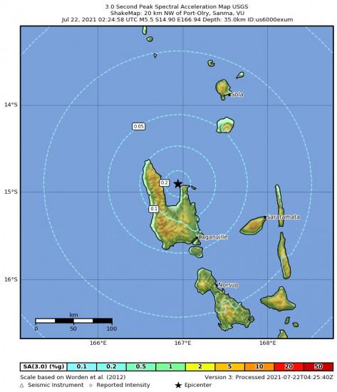 3 Second Peak Spectral Acceleration Map for the Port-olry, Vanuatu 5.5m Earthquake, Thursday Jul. 22 2021, 1:24:58 PM