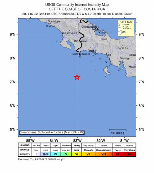 Community Internet Intensity Map for the Punta De Burica, Panama 4.7m Earthquake, Wednesday Jul. 21 2021, 9:51:05 PM