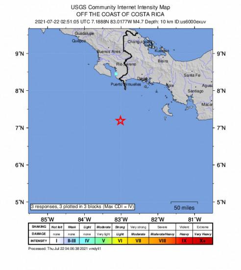GEO Community Internet Intensity Map for the Punta De Burica, Panama 4.7m Earthquake, Wednesday Jul. 21 2021, 9:51:05 PM