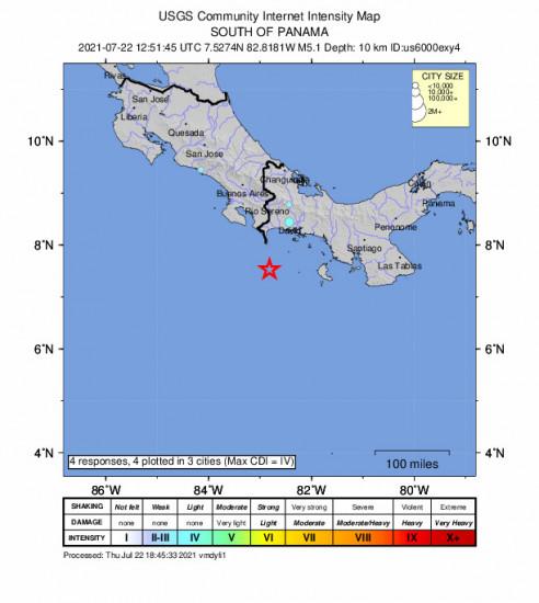 Community Internet Intensity Map for the Punta De Burica, Panama 5.1m Earthquake, Thursday Jul. 22 2021, 7:51:45 AM