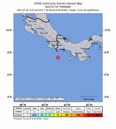 GEO Community Internet Intensity Map for the Punta De Burica, Panama 5.1m Earthquake, Thursday Jul. 22 2021, 7:51:45 AM