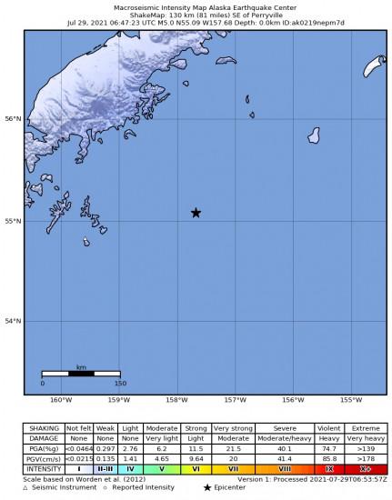 Macroseismic Intensity Map for the Perryville, Alaska 5.4m Earthquake, Wednesday Jul. 28 2021, 10:47:24 PM