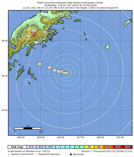 Peak Ground Acceleration Map for the Perryville, Alaska 5.4m Earthquake, Wednesday Jul. 28 2021, 10:47:24 PM