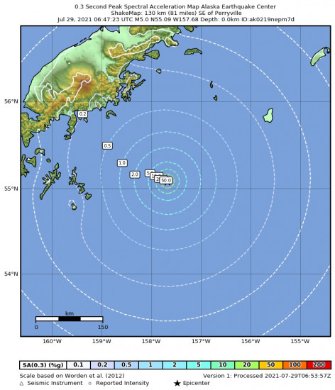 0.3 Second Peak Spectral Acceleration Map for the Perryville, Alaska 5.4m Earthquake, Wednesday Jul. 28 2021, 10:47:24 PM