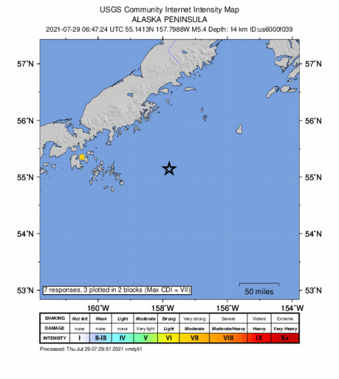 GEO Community Internet Intensity Map for the Perryville, Alaska 5.4m Earthquake, Wednesday Jul. 28 2021, 10:47:24 PM