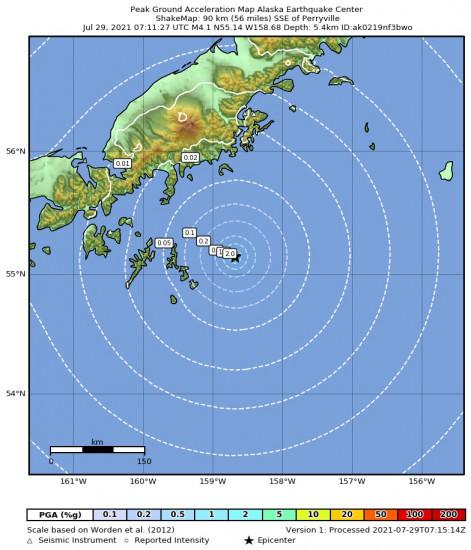 Peak Ground Acceleration Map for the Alaska Peninsula 4.4m Earthquake, Wednesday Jul. 28 2021, 11:11:25 PM