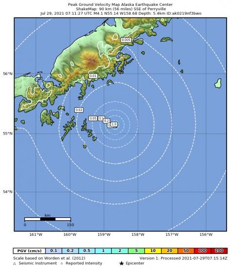 Peak Ground Velocity Map for the Alaska Peninsula 4.4m Earthquake, Wednesday Jul. 28 2021, 11:11:25 PM