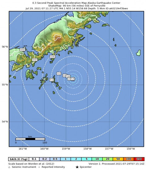 0.3 Second Peak Spectral Acceleration Map for the Alaska Peninsula 4.4m Earthquake, Wednesday Jul. 28 2021, 11:11:25 PM