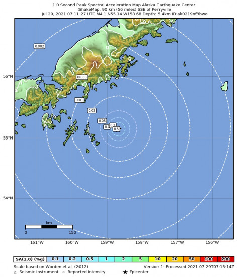 1 Second Peak Spectral Acceleration Map for the Alaska Peninsula 4.4m Earthquake, Wednesday Jul. 28 2021, 11:11:25 PM