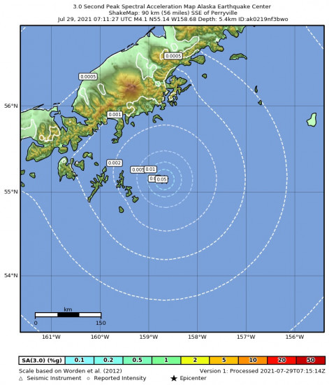 3 Second Peak Spectral Acceleration Map for the Alaska Peninsula 4.4m Earthquake, Wednesday Jul. 28 2021, 11:11:25 PM