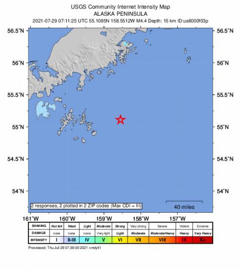 Community Internet Intensity Map for the Alaska Peninsula 4.4m Earthquake, Wednesday Jul. 28 2021, 11:11:25 PM