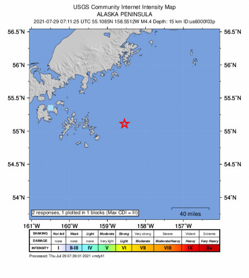 GEO Community Internet Intensity Map for the Alaska Peninsula 4.4m Earthquake, Wednesday Jul. 28 2021, 11:11:25 PM