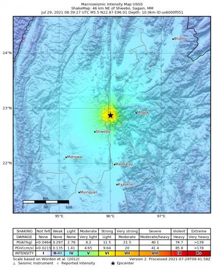 Macroseismic Intensity Map for the Shwebo, Myanmar 5.5m Earthquake, Thursday Jul. 29 2021, 3:09:27 PM