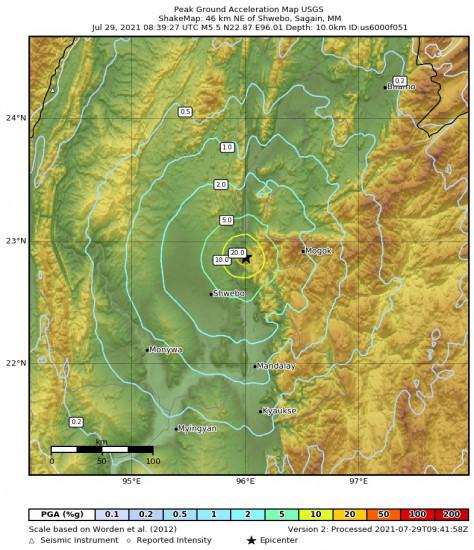 Peak Ground Acceleration Map for the Shwebo, Myanmar 5.5m Earthquake, Thursday Jul. 29 2021, 3:09:27 PM