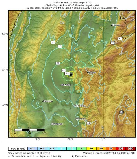 Peak Ground Velocity Map for the Shwebo, Myanmar 5.5m Earthquake, Thursday Jul. 29 2021, 3:09:27 PM
