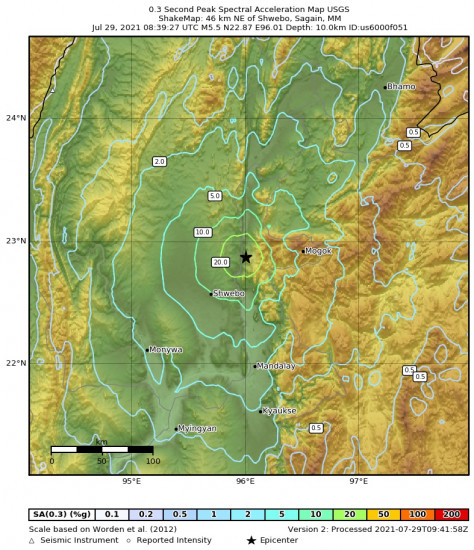 0.3 Second Peak Spectral Acceleration Map for the Shwebo, Myanmar 5.5m Earthquake, Thursday Jul. 29 2021, 3:09:27 PM