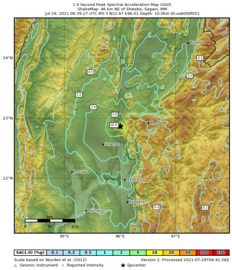 1 Second Peak Spectral Acceleration Map for the Shwebo, Myanmar 5.5m Earthquake, Thursday Jul. 29 2021, 3:09:27 PM