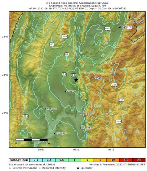 3 Second Peak Spectral Acceleration Map for the Shwebo, Myanmar 5.5m Earthquake, Thursday Jul. 29 2021, 3:09:27 PM