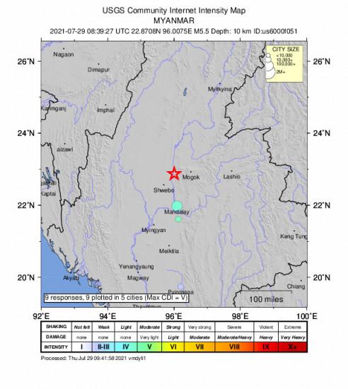 Community Internet Intensity Map for the Shwebo, Myanmar 5.5m Earthquake, Thursday Jul. 29 2021, 3:09:27 PM