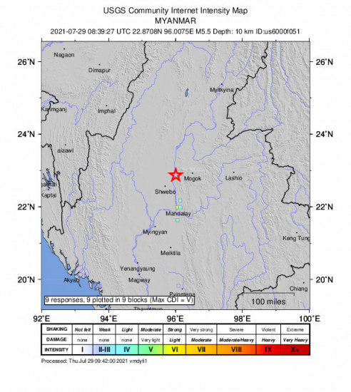 GEO Community Internet Intensity Map for the Shwebo, Myanmar 5.5m Earthquake, Thursday Jul. 29 2021, 3:09:27 PM