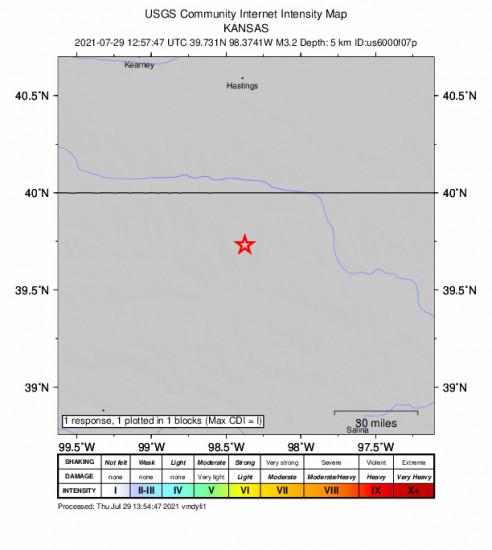 GEO Community Internet Intensity Map for the Esbon, Kansas 3.2m Earthquake, Thursday Jul. 29 2021, 7:57:47 AM