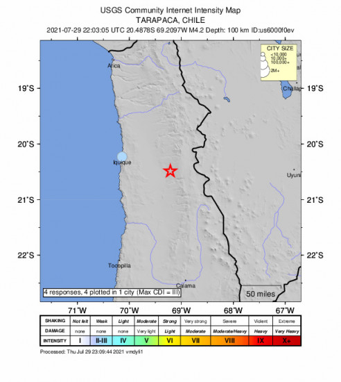Community Internet Intensity Map for the Iquique, Chile 4.2m Earthquake, Thursday Jul. 29 2021, 6:03:05 PM