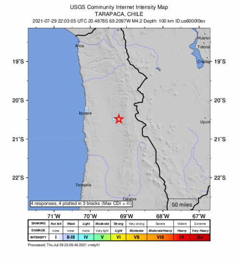 GEO Community Internet Intensity Map for the Iquique, Chile 4.2m Earthquake, Thursday Jul. 29 2021, 6:03:05 PM