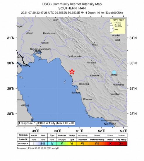 Community Internet Intensity Map for the Bandar-e Genāveh, Iran 4.4m Earthquake, Friday Jul. 30 2021, 4:17:26 AM
