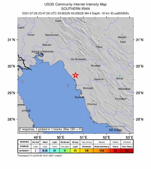 GEO Community Internet Intensity Map for the Bandar-e Genāveh, Iran 4.4m Earthquake, Friday Jul. 30 2021, 4:17:26 AM