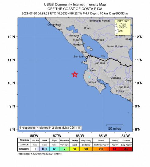 Community Internet Intensity Map for the Sardinal, Costa Rica 4.7m Earthquake, Thursday Jul. 29 2021, 10:29:32 PM