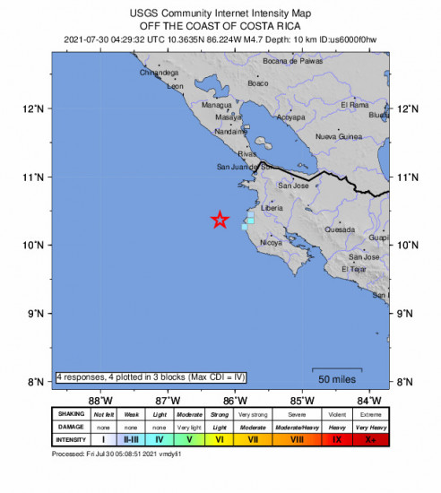GEO Community Internet Intensity Map for the Sardinal, Costa Rica 4.7m Earthquake, Thursday Jul. 29 2021, 10:29:32 PM
