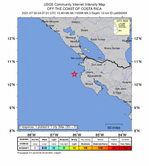 Community Internet Intensity Map for the Sardinal, Costa Rica 4.3m Earthquake, Thursday Jul. 29 2021, 10:37:01 PM