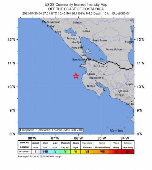 GEO Community Internet Intensity Map for the Sardinal, Costa Rica 4.3m Earthquake, Thursday Jul. 29 2021, 10:37:01 PM