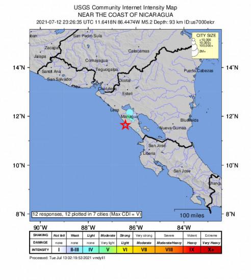 Community Internet Intensity Map for the El Rosario, Nicaragua 5.2m Earthquake, Monday Jul. 12 2021, 5:26:35 PM