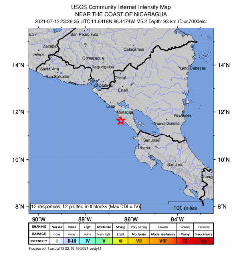 GEO Community Internet Intensity Map for the El Rosario, Nicaragua 5.2m Earthquake, Monday Jul. 12 2021, 5:26:35 PM