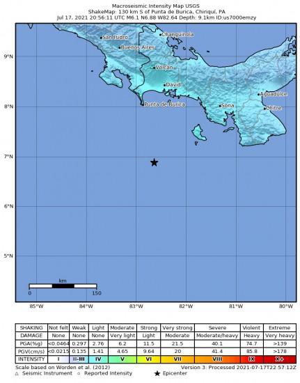 Macroseismic Intensity Map for the Punta De Burica, Panama 6.1m Earthquake, Saturday Jul. 17 2021, 3:56:11 PM