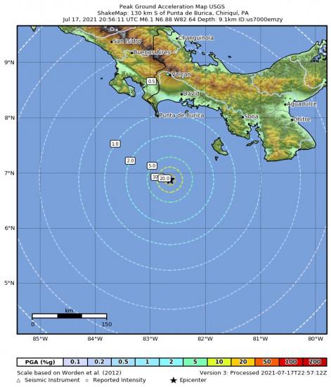 Peak Ground Acceleration Map for the Punta De Burica, Panama 6.1m Earthquake, Saturday Jul. 17 2021, 3:56:11 PM