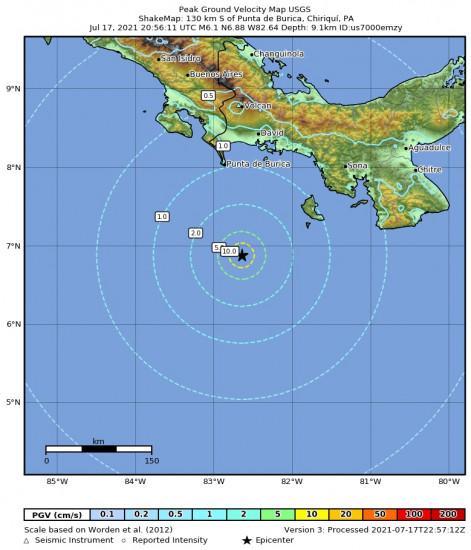 Peak Ground Velocity Map for the Punta De Burica, Panama 6.1m Earthquake, Saturday Jul. 17 2021, 3:56:11 PM