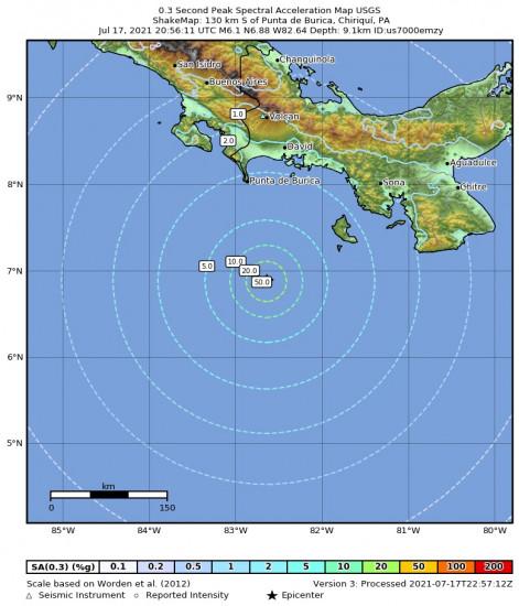 0.3 Second Peak Spectral Acceleration Map for the Punta De Burica, Panama 6.1m Earthquake, Saturday Jul. 17 2021, 3:56:11 PM