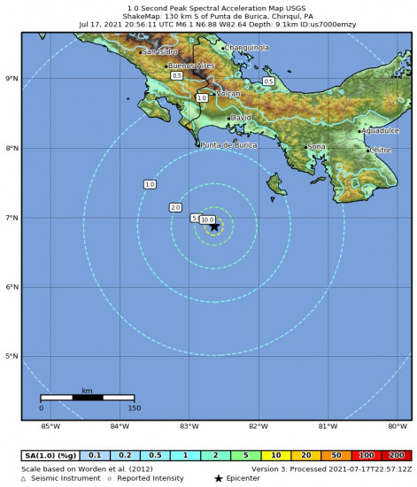 1 Second Peak Spectral Acceleration Map for the Punta De Burica, Panama 6.1m Earthquake, Saturday Jul. 17 2021, 3:56:11 PM