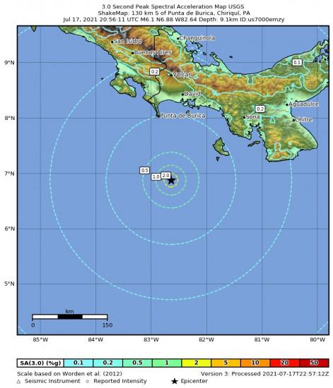 3 Second Peak Spectral Acceleration Map for the Punta De Burica, Panama 6.1m Earthquake, Saturday Jul. 17 2021, 3:56:11 PM