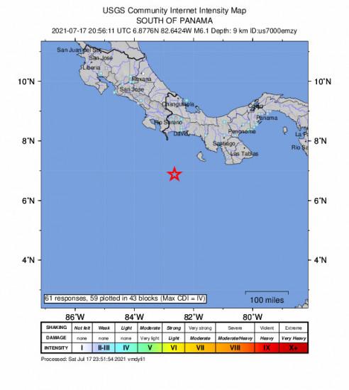 GEO Community Internet Intensity Map for the Punta De Burica, Panama 6.1m Earthquake, Saturday Jul. 17 2021, 3:56:11 PM