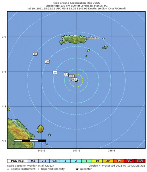 Peak Ground Acceleration Map for the Bismarck Sea 5.8m Earthquake, Tuesday Jul. 20 2021, 1:22:32 AM