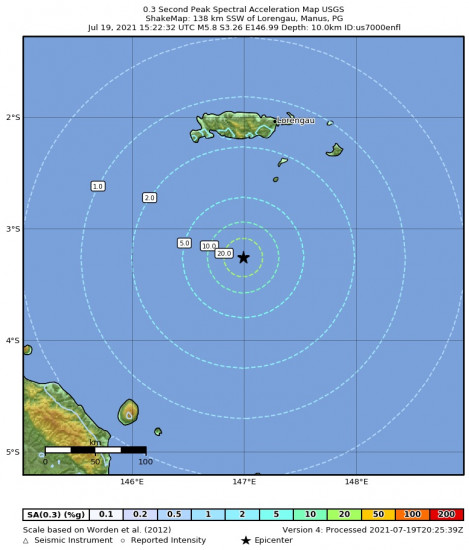 0.3 Second Peak Spectral Acceleration Map for the Bismarck Sea 5.8m Earthquake, Tuesday Jul. 20 2021, 1:22:32 AM