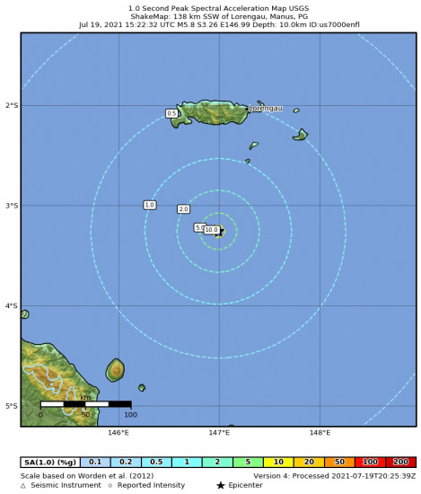 1 Second Peak Spectral Acceleration Map for the Bismarck Sea 5.8m Earthquake, Tuesday Jul. 20 2021, 1:22:32 AM