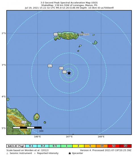 3 Second Peak Spectral Acceleration Map for the Bismarck Sea 5.8m Earthquake, Tuesday Jul. 20 2021, 1:22:32 AM