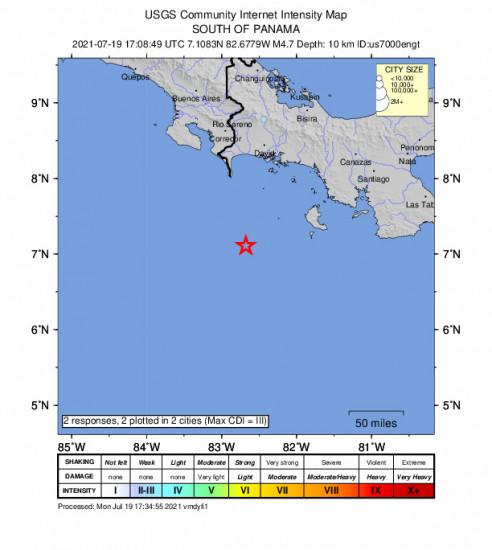 Community Internet Intensity Map for the Panama 4.7m Earthquake, Monday Jul. 19 2021, 12:08:49 PM