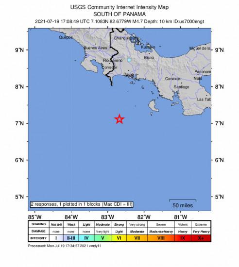 GEO Community Internet Intensity Map for the Panama 4.7m Earthquake, Monday Jul. 19 2021, 12:08:49 PM
