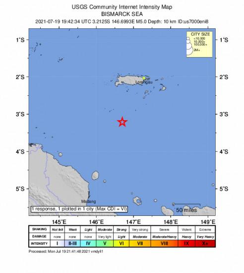Community Internet Intensity Map for the Lorengau, Papua New Guinea 5m Earthquake, Tuesday Jul. 20 2021, 5:42:34 AM